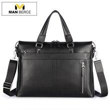 MANBERCE Handtasche Männer Schultertasche Echtes Leder Marke Aktentaschen Geschäftsreisen Tragetasche herren Messenger Bag Kostenloser Versand