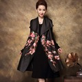 Runway women embroidered retro trench set 2016 autumn royal embroidery plus size elegant lady floral 2 piece coat dress female