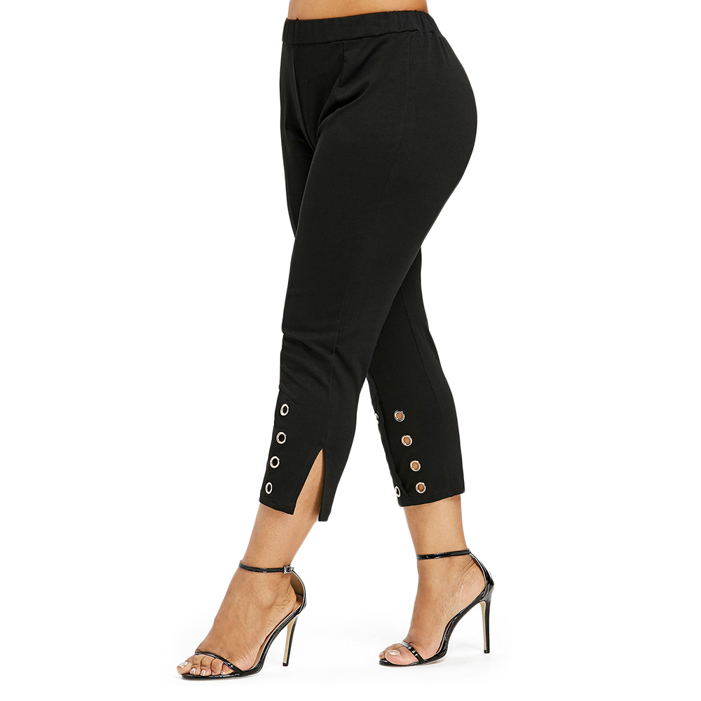 LANGSTAR Plus Size Women Pencil   Pants   Grommet High Rise   Pants   Fitted Cropped Slit   Capri     Pants   Embellished Stretch Elastic   Pants