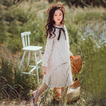 Girls Dress Children Lace Party Dresses Kids Clothes Autumn Spring Bow Beige Teenager Knee-length Clothing For Age 6 10 12 14 Y(China)