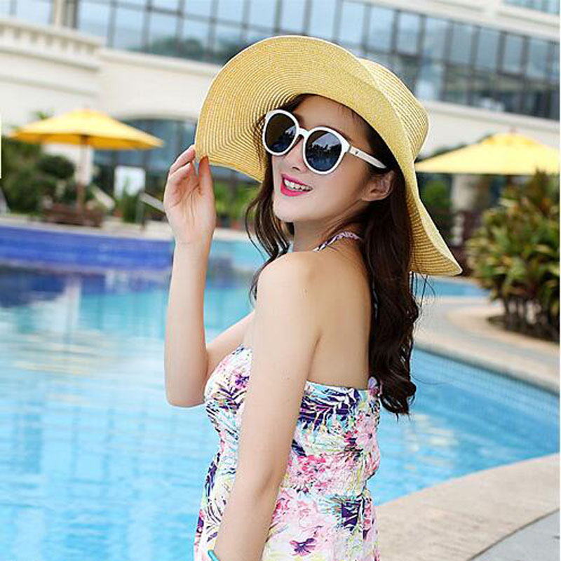 d52b5a620c5 2018 hot big brim sun hats for woman foldable colorful stone hand ...