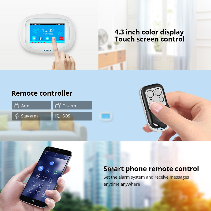 Image 5 - KERUI K52 Wifi GSM APP Control Alarm Set For Home Security GSM SMS 4.3 Inch TFT Color Wireless IOS/Android Burglar Alarm System-in Alarm System Kits from Security & Protection