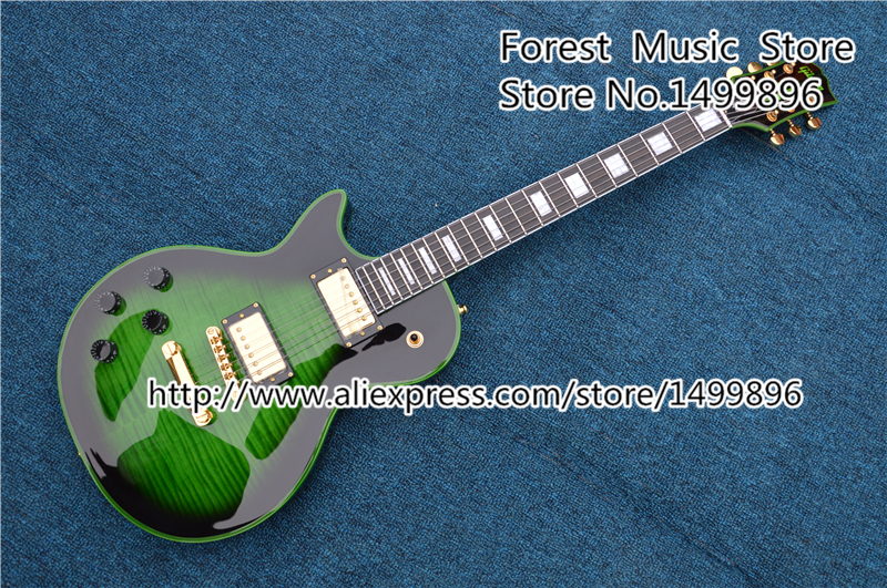 Top Selling Green LP Custom Electric Guitars China Tiger Flame Guitar Body Left Handed Guitarras Available free ship sunset glow tiger flame es classical johnny a signature hollow body electric guitar china custom available