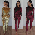 Women Sexy Club Party Casual   2 piece Long Sleeve Tops Pullovers  Long pants  Women Clothes