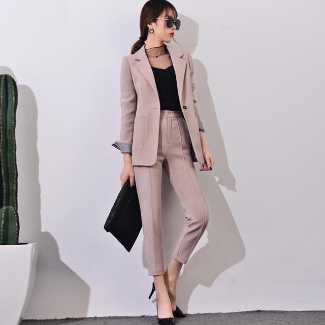 Fatos de calça Mulheres Casuais Escritório de Negócios Ternos Formais Desgaste do Trabalho Define Styles Uniformes Ternos Elegantes Calças Azeitona Verde Rosa Pálido