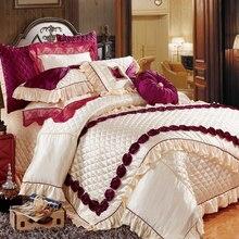Fashion purple embroidered silk flowers 11pcs bedding bedspread linens silk/cotton fabric King Size duvet cover set bed flag bedspread ethel silk sakura size 180 220 cm faux silk 100% n e