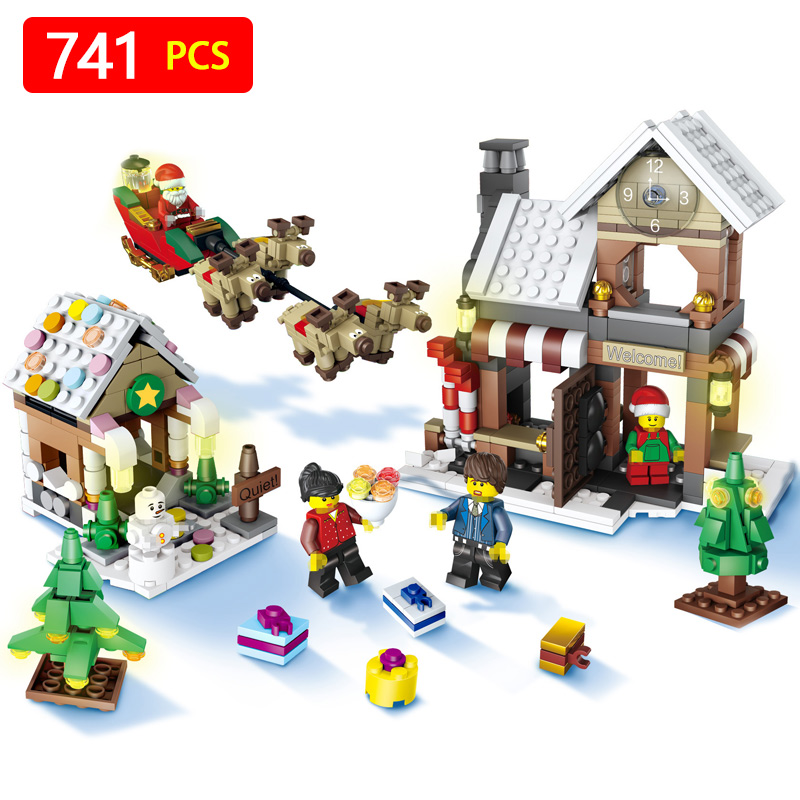 741pcs Snowman Model LegoINGlys Christmas Santa Claus Coming Figure Elk and Sled Building Blocks Set Model Kits Toys for Kids stylish christmas snowman embroidery festival beanie for men and women