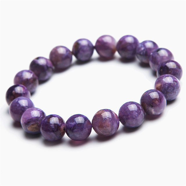 11mm Genuine Natural Purple Charoite Gems Round Loose Beads Jewelry Charm Stretch Bracelet Free Shipping