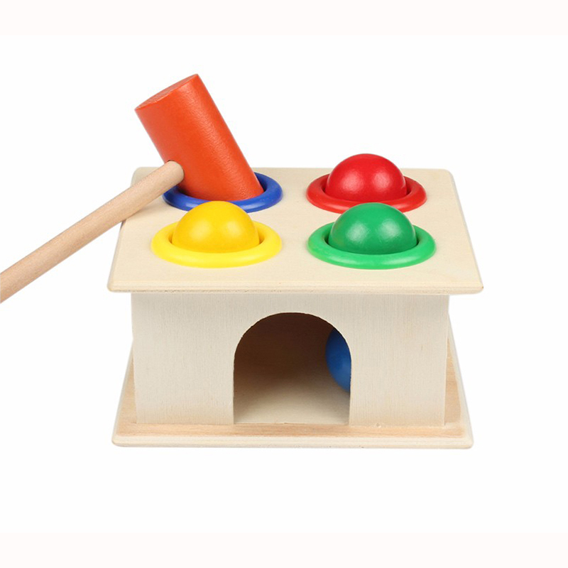 Baby Colorful Hammering Wooden Ball Hammer Box Geometric ...