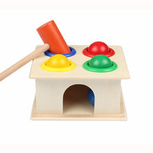 Bebê Colorido Martelar Martelo Bola Caixa de Blocos Geométricos De Madeira Crianças Early Learning Brinquedos Educativos para Crianças Presente da menina e menino