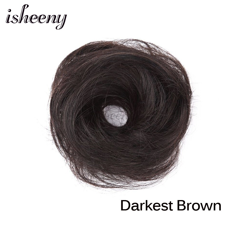 Isheeny European Human Hair Remy Rubber Band Chignon 17g Black Brown Natural Dount Chignon 4 Colors Human Hair Pure Color - Цвет: #2