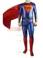 2015 Man Of Steel Superman Superhero Costume Red And Blue Shiny Metallic Fullbody Costume