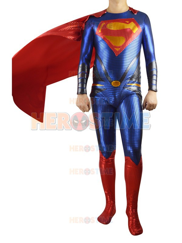Superman Costume red and blue shiny metallic full body Superman costumes halloween cosplay zentai suit