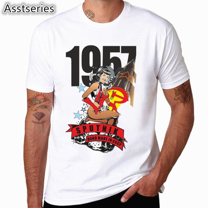 CCCP USSR Gagarin Tshirt New Design Printed Summer O-neck Men's   T     Shirt   Cool Short Sleeve Men Clothing