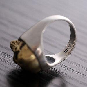 Image 5 - ZABRA 925 Sterling Silver Rose Gold 18mm Skull Ring for Women Mens Personality Biker Vintage Punk Jewelry aneis de prata 925