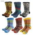 Listras de leopardo de lã das mulheres dos homens meias de lã de alta qualidade jacquard de tricô impresso flor cervos do floco de neve estilo meias quentes curtas