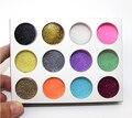 Moda 12 Color del Metal del brillo del arte del clavo del Kit de herramienta de acrílico del polvo del polvo joya esmalte de uñas herramientas 12 unids \ porción