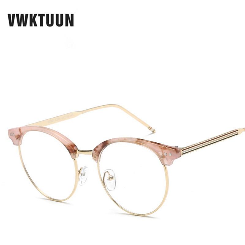 VWKTUUN Oversized Half Glasses Frame Women Men Eyeglasses Optical Glasses Frame Vintage Eyeglass Frames Male Female Fake Glasses