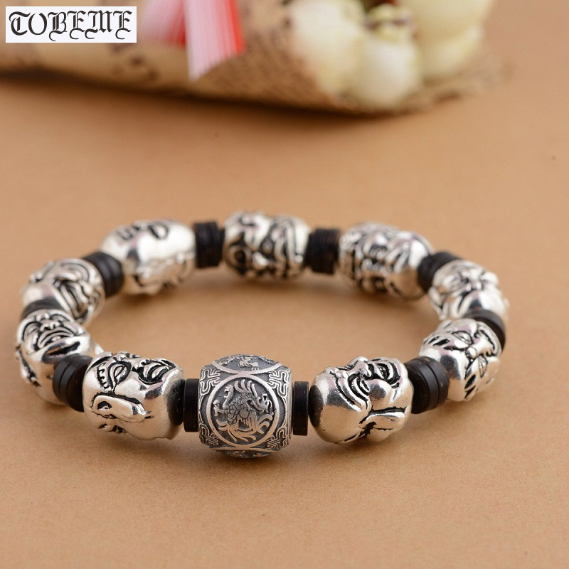 Handcrafted 925 Silver Buddhist Eighteen Arhats Beads Bracelet Tibetan Rohan Beaded Bracelet Lucky Beasts Bead Man BraceletHandcrafted 925 Silver Buddhist Eighteen Arhats Beads Bracelet Tibetan Rohan Beaded Bracelet Lucky Beasts Bead Man Bracelet