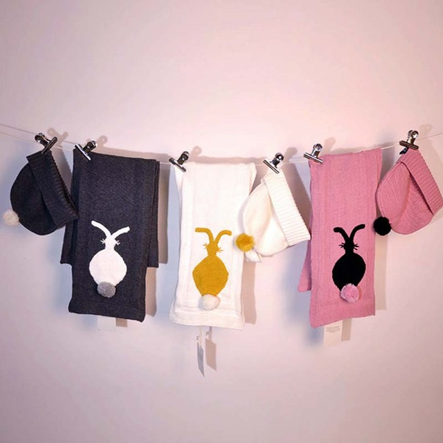 BBK Cute rabbit baby girls scarves+Casual Beanies for girls Fashion Knitted Winter Hat a set of three colors cotton Knit Cap C*