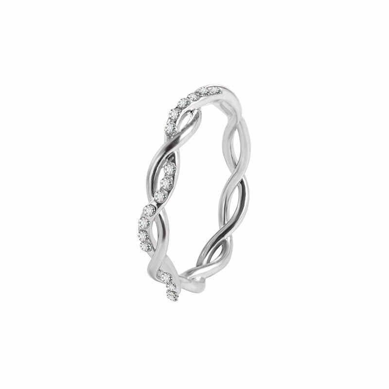 Anéis redondos para mulher fina cor de ouro rosa torção corda empilhamento anéis de casamento em aço inoxidável bijoux