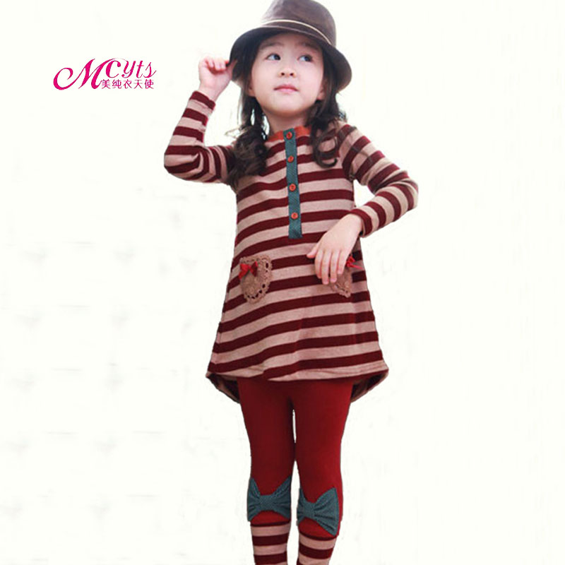 2018 New Spring Autumn Children Girls Clothes Sets Cotton Fashion Stripe Tops+Pant Suit Kids Outfit Clothing 3 4 5 6 7 8 9 Years
