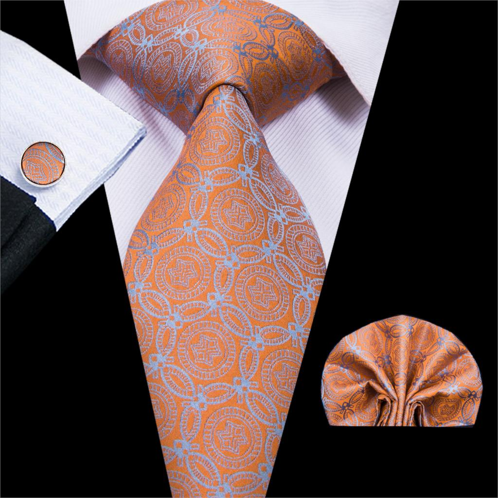 Hi-Tie 2018 Hot Sell 100% Silk New Jacquard Necktie Hanky Cufflinks Set For Men Classic Style For Bussiness C-3083