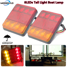 Waterproof 8 LED Car Tail Light Rear Lamps Pair Boat Trailer 12V Rear Parts for Trailer Truck Car Lighting Waterproof IP65