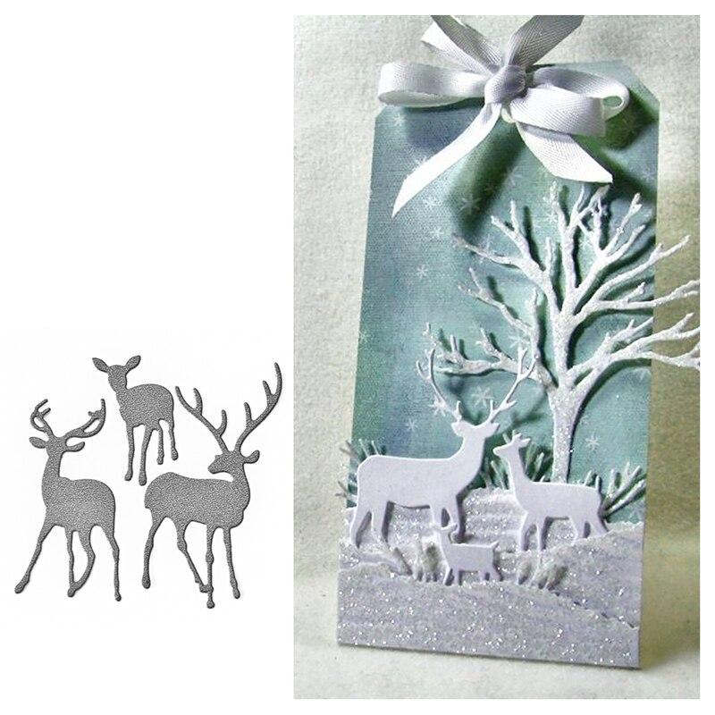 Julyarts  73x72mm Christmas Deer Stencil Metal Cutting Dies Cut Practice Hands-on Diy Scrapbooking Album Craft Dies