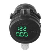 2019 QC 3.0 USB Charger Socket LED Voltmeter Current Display for Car Boat Motorcycle