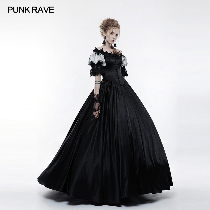 PUNK RAVE Women Steampunk Vintage Dress Victorian Style Palace Gorgeous Long Dress Feamle Evening Party Lace Formal Dresses in Dresses from Women 39 s Clothing
