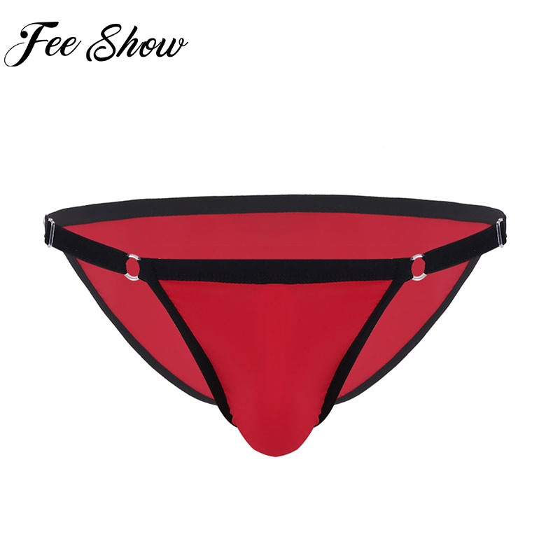 Mens ice silk Briefs Male Lingerie Adjustable Waistband Soft Fabric Low Rise Bikini Briefs Underwear Silk Panties For Men