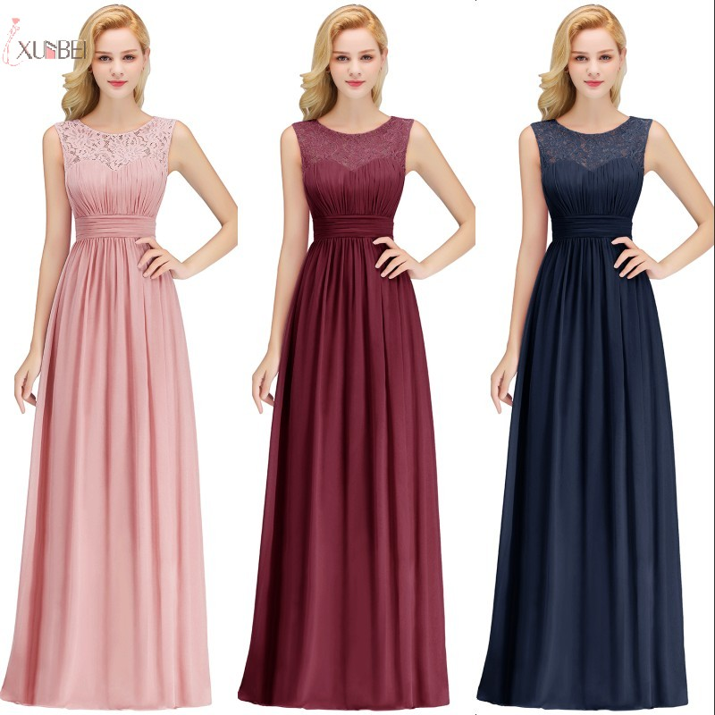 2019 Burgundy Chiffon Long   Bridesmaid     Dresses   A line Sleeveless Wedding Party Guest Gown robe demoiselle d'honneur