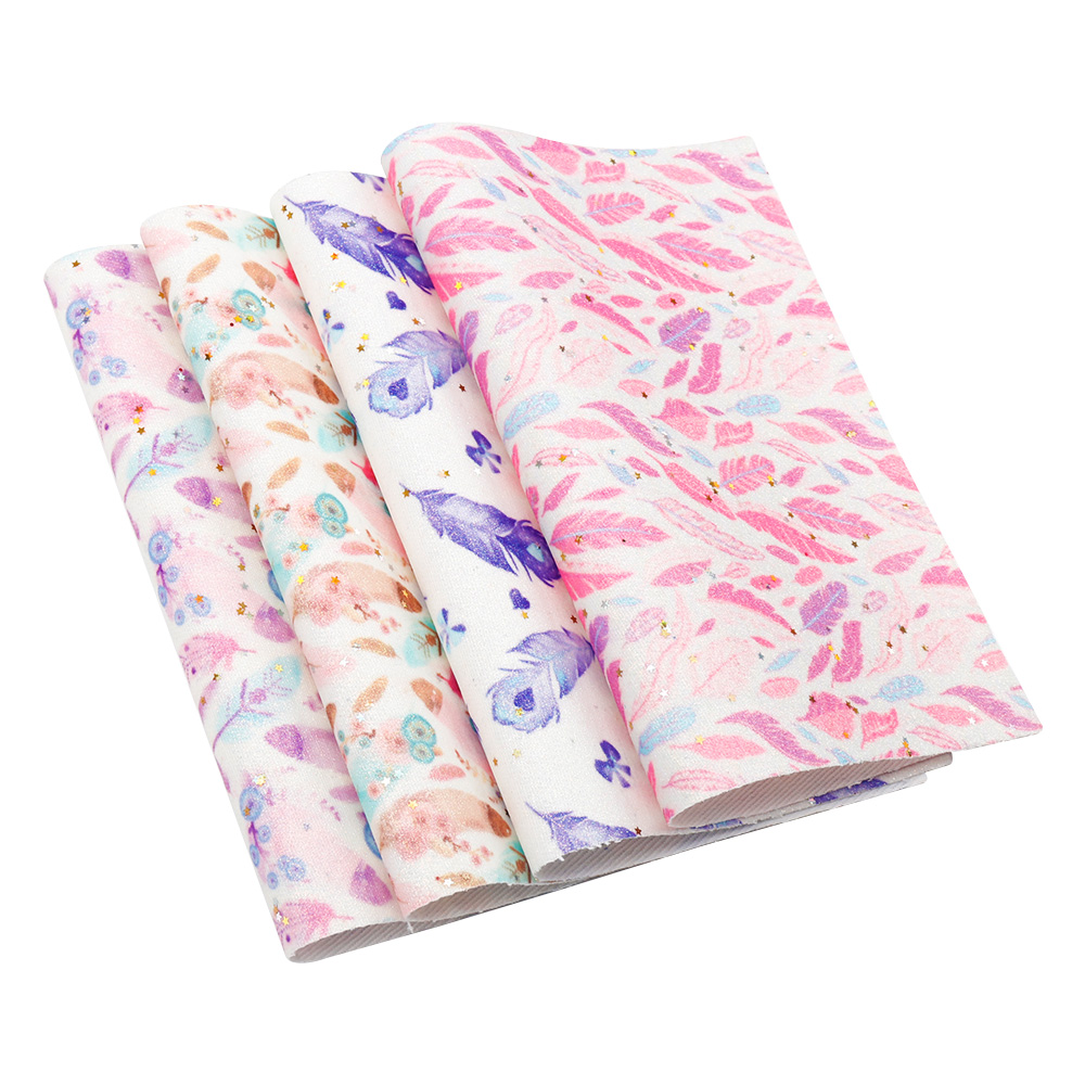 22*30cm Feather Printed Leather Sheet Synthetic Fabric DIY Crafts Sewing Materia