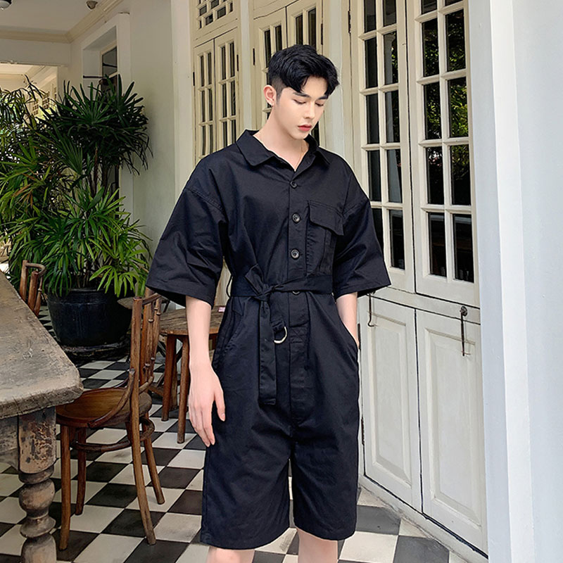 Photno Mens Fashion Solid Color Short Sleeve Button Rompers Summer Short Jumpsuit Overall Pants with Pocket White