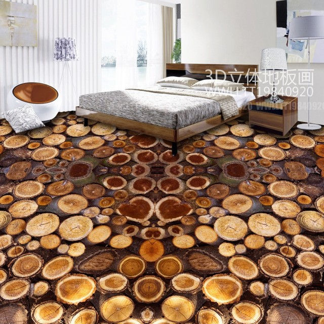 Free Shipping Tree Section Ring Wheel Wood 3d Flooring Home Decoration Waterproof Thickening Bathroom Floor Wallpaper