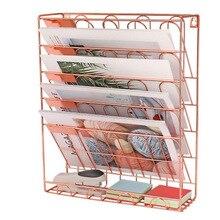 Европейская простая железная книжная полка из розового золота, Настольная книжная стойка для хранения журналов, креативная стойка для хранения, стойка для папок