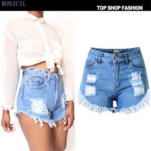 ROSICIL Short Jeans Fashion Brand Summer Style Women Shorts Loose Cotton Casual female Slim High Waist Denim Shorts T-SL025#