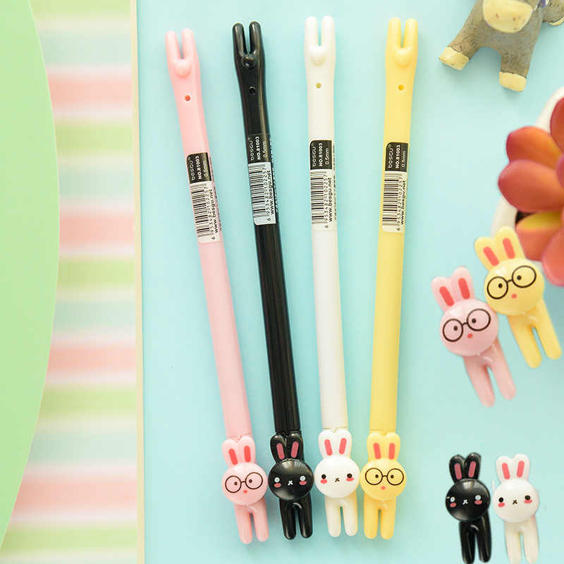 48 pcs/Lot Cute rabbit gel pen Black color ink 0.5mm signature writing pens Stationery Office accessories school supplies FB879