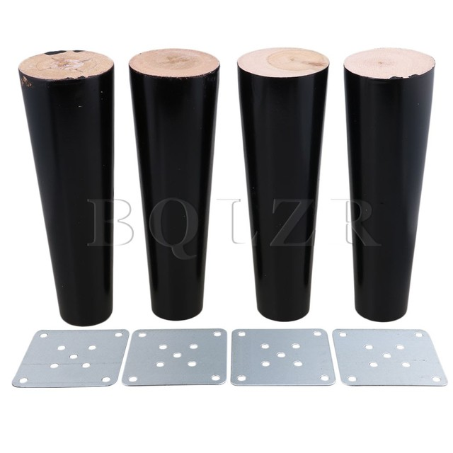 Amazing BQLZR 180x58x35mm Cone Black Eucalyptus Material Sofa Chairs Wooden Replacement  Furniture Legs Pack Of 4