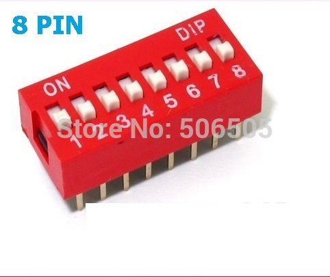 10pcs 8 Position 8Pin DIP Switch 2.54mm Pitch 2 Row 8P Slide DIP Switch Free shipping 10pcs red blue 2 54mm pitch slide type switch 1p 2p 3p 4p 5p 10p dip switch new