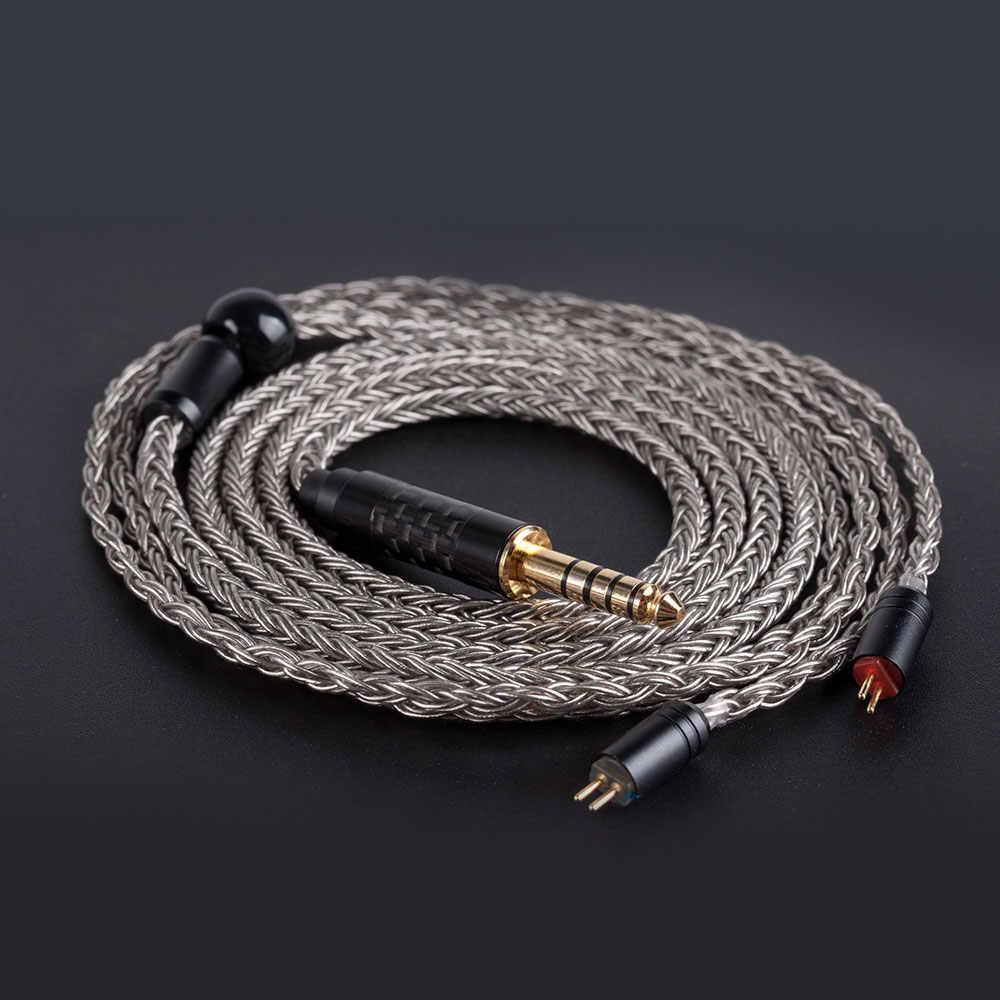 AK Hifihear 16 rdzeń posrebrzany kabel 2.5/3.5/4.4mm kabel wagi ze złączem MMCX/2pin złącze dla TRNX6 ZSX ZS10 PRO AS10 C12/C10