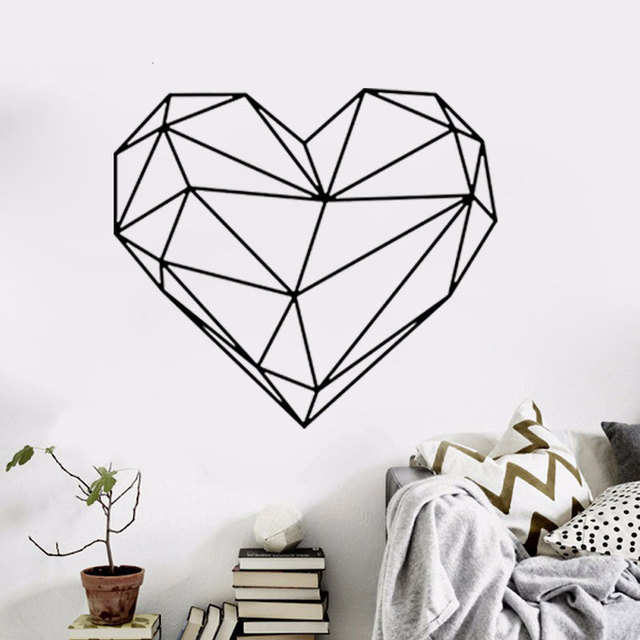 geometric heart wall sticker 3d heart wall decor removable heart