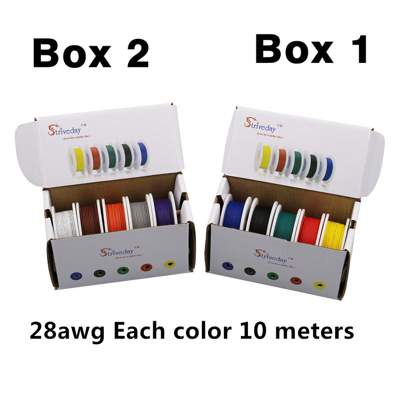100 m( 10 colors Mix box 1+box 2 Stranded Wire Kit) UL 1007 28AWG Electrical Wire Airline Copper PCB line 32.8 feet each colors цена