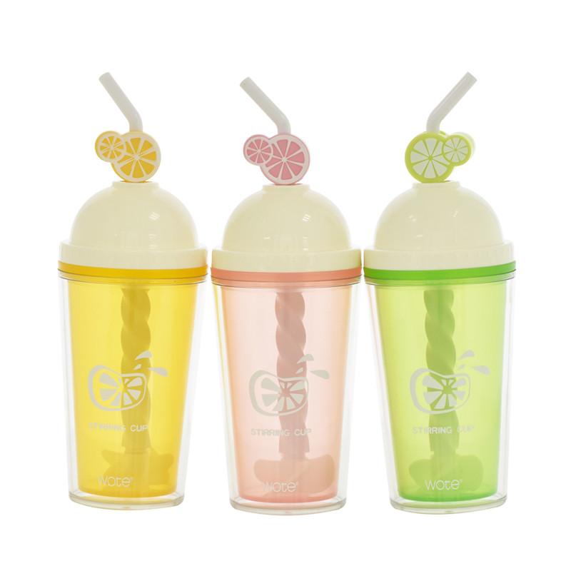 Fashion Designed Plastic Fruit Stirring Bottle Lemon Water Bottle Girl Kids Smoothies Juice Drinking Bottle Gift 420ml