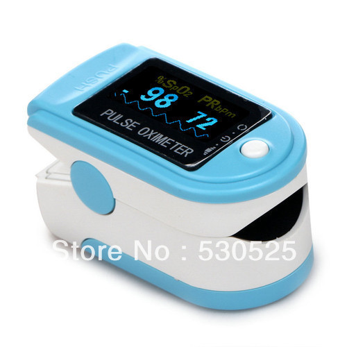 *Light Blue* CE FDA Approved Finger SPO2 Monitor, Fingertip Pulse Oximeter Blood Oxygen Saturation Monitor, Brand New CMS50D
