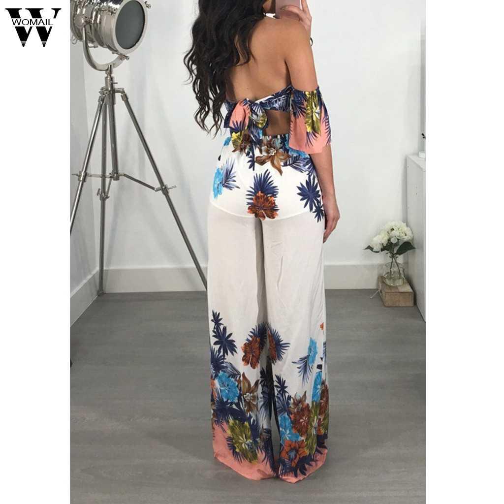 Womail комбинезон для женщин сексуальная печати с открытыми плечами Self Tie Новый одежда с оборочками длина половина рукав элегантный челнока May6
