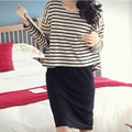 Maternity Nursing Dress Stripe Two Piece Suit Set Cotton For Pregnant Woman Beastfeeding Clothes Long Sleeve Spring Autumn