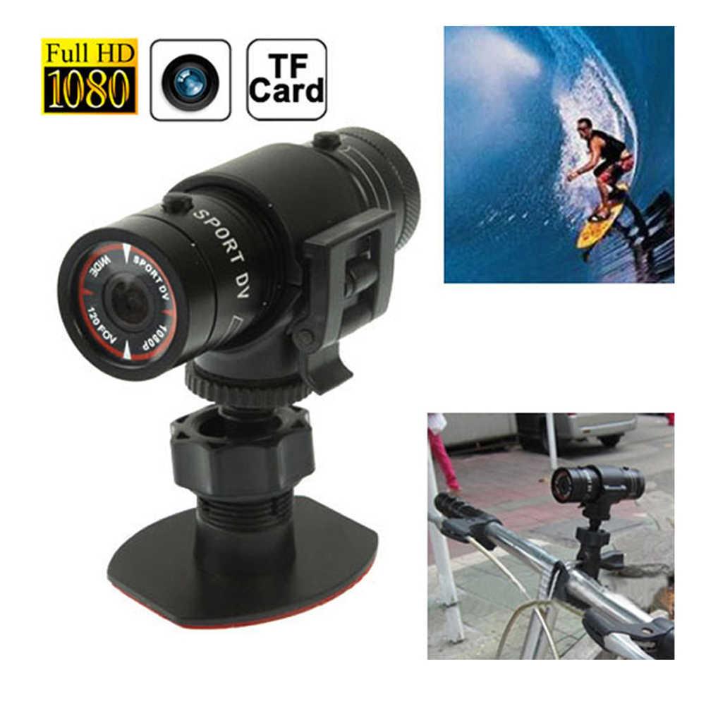 Мини Водонепроницаемый Спорт действий Камера велосипед шлем кронштейн видеорегистратор Цифровой 120 градусов широкий F9 Full HD 1080 P DV Камера