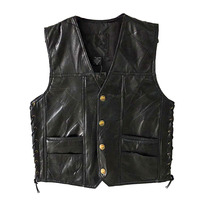 Leather Vests Men Sleeveless Jackets PU Vest Male Streetwear Punk Pocket Button Black Brand Motorcycle Waistcoat Jackets Coats